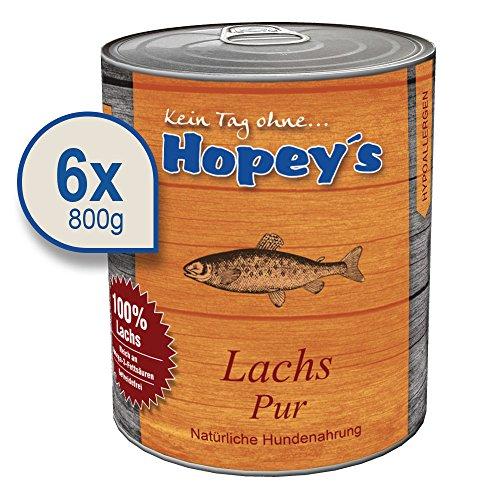 Hopey\'s Hypoallergenes Hundefutter: Lachs als einzige Proteinquelle, 100{3198788ec520f2890f1e58055296643cda0346881023efc3c8893089e36f6714} Lachs für Hunde, 6X 800g Dosen
