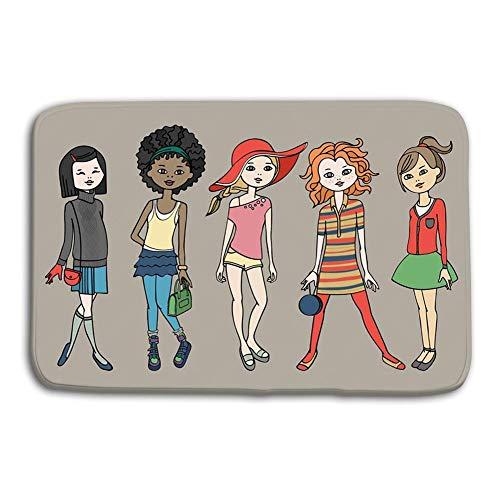 n Bad Eingangstür Matten Teppich Set? Ute Teen Girls Fashion Outfits Body Template Dress up Paper Doll rutschfeste Badezimmermatten ()