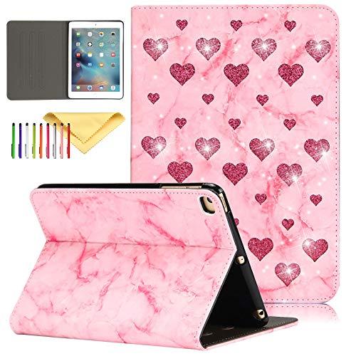 Uliking iPad Mini 5 Hülle 2019 7,9 Zoll Mini 4 3 2 1 Hülle Bling Love Sparkle PU Leder Skinbshell mit Auto Sleep/Wake Multi-Angel Stand Smart Cover für Apple iPad Mini 5/4/3/2/1 5 Bling