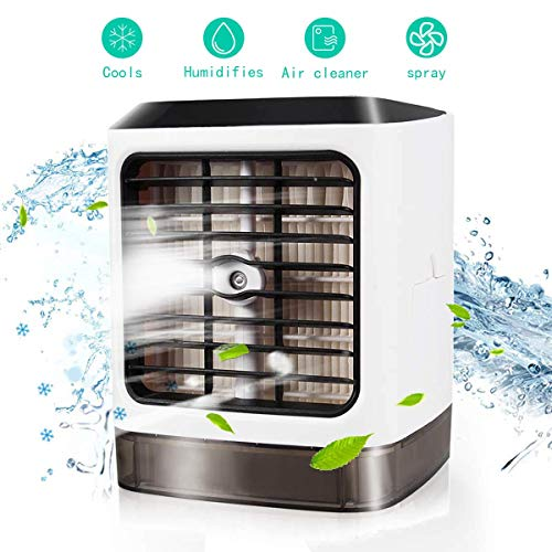 [2019] klimagerät mobil 3-in-1 Luftkühler Luftbefeuchter Luftreiniger, USB Tragbare Kühler 7 Farben 3 Lüftergeschwindigkeiten Mobile Klimageräte Luftbefeuchter für Home Office Auto im Freien