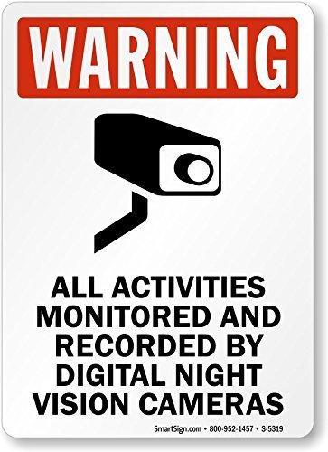 25 Night Vision (qidushop Rustikal Metall Schild Post Alle Aktivitäten überwacht und von Digital Night Vision Kameras Aluminium Art Wand Plaque Dekoration 25x 35cm)