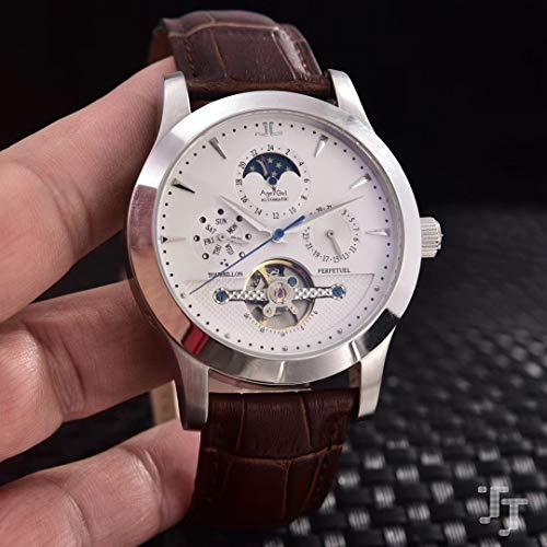 AHELUSB Herren Automatik Mechanik Edelstahl Mondphase Schwarz Braun Leder Saphir Tourbillion UhrSilber Weiß