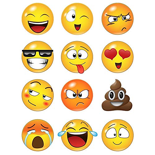 12a1bbe82 WHFDRHQT sticker mural Stickers Autocollant mural grand format avec 12  faces Emoji