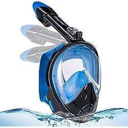 GlowsLand Masque de Plongée, Masque de Snorkeling, Masque Snorkeling Plein Visage 180° Visible, Anti-Buée et Anti-Fuite Snorkel Masque avec la Support pour Caméra de Sport, Adapté pour Adulte 2019