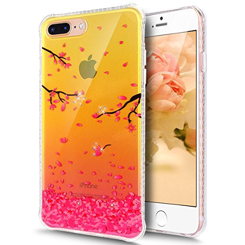 iPhone 8 Plus Hülle,iPhone 7 Plus Hülle,Schutzhülle iPhone 8 / iPhone 7 Plus Silikon Hülle,ikasus® Bunte Kunst Gemalt Muster Mit Glänzend Glitzer Kristall Strass Diamanten Handyhülle iPhone 8 Plus / i Rosa Kirschblüten