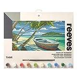 Reeves PL111 Malen nach Zahlen, Größe 30 x 40cm - Motiv:  Tropischer Strand - 1 Pinsel, 10 Acrylfarben in 5ml Töpfchen