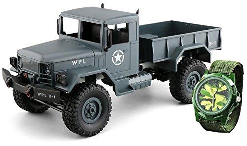 Amewi 22327U.S. Militare Truck 4WD 1: 16RTR con Orologio per Bambini Veicolo, Grigio