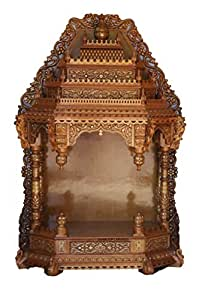 Handcrafted Teak Wood Pooja Mantap / Mandir/ Home Temple with Brass Inlay
