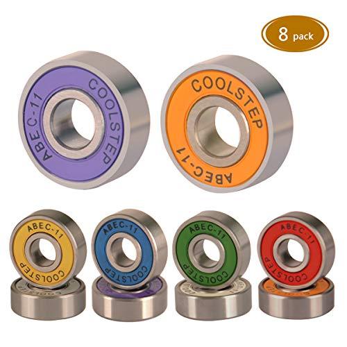 Mebios Skateboard Lager, ABEC 9 ABEC 11 608 Rollenlager Langscheibenlager High Speed wasserdicht für Treten Roller und Inline (abec-11 (Colorful)-8 Pack)