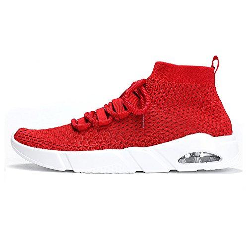 Wu's Store Herren Fitnessschuhe Laufschuhe Sneaker Straßenlaufschuhe Sportschuhe Turnschuhe Gym Leichte und Atmungsaktive (40 EU, Rot) (Mesh High Top)