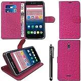 iTechCover® Alcatel Pixi 4 6.0 + Stift / Stylus Fall - Heiß Rosa Leder Wallet Case Cover mit Schlitzen für Kreditkarten / Taschen zur Aufbewahrung / Desktop-Ständer für Alcatel Pixi 4 6.0 + Stift / Stylus