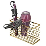 mDesign Bathroom Wall Mount Hair Care & Styling Tool Organizer Storage Basket for Hair Dryer, Flat Iron, Curling Wand, Hair Straighteners, Brushes - Durable Steel Wire in Soft Brass Finish