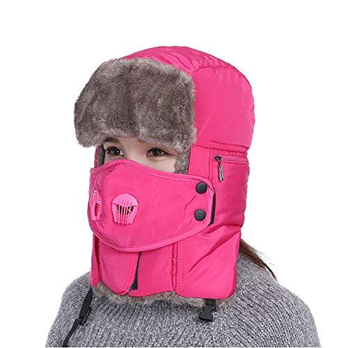 SMILINGGIRL Männer/Frauen Wasserabweisend Flauschigen Winter Russische Trapper Hut Warme Radfahren Jagd Ski Uschanka Mütze,Pink