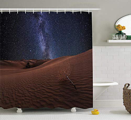 Space Shower Curtain, Life on Mars Themed Surreal Surface of Gobi Desert Dune Oasis Lunar Adventure Photo, Fabric Bathroom Decor Set with Hooks, 60x72 inches, Brown Blue - Dune Gift Set