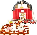 small foot 10800 World Bauernhof aus Holz, mit magnetischem Kran, Trecker mit Anhängern, Zaunmodule...