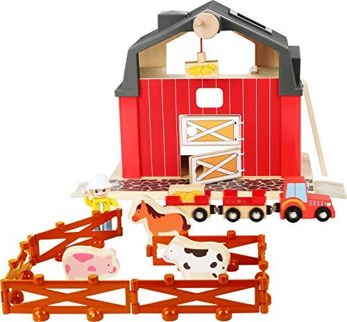 small foot 10800 World Bauernhof aus Holz, mit magnetischem Kran, Trecker mit Anhängern, Zaunmodule und Holztieren, kompatibel mit Allen gängigen Holzeisenbahnen