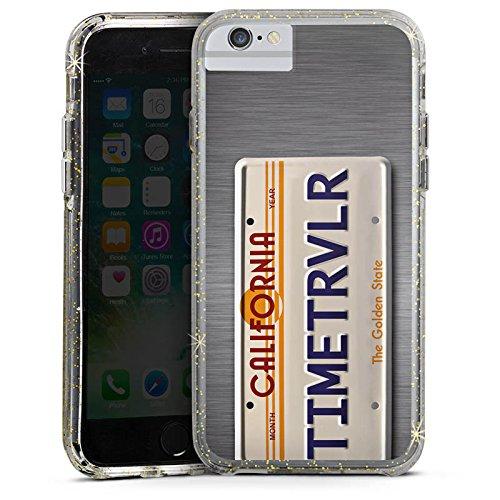 Apple iPhone 7 Bumper Hülle Bumper Case Glitzer Hülle Nummernschild Future Zeitreise Bumper Case Glitzer gold