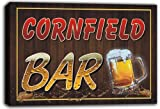 scw3-048482 CORNFIELD Name Home Bar Pub Beer Mugs Stretched Canvas Print Sign