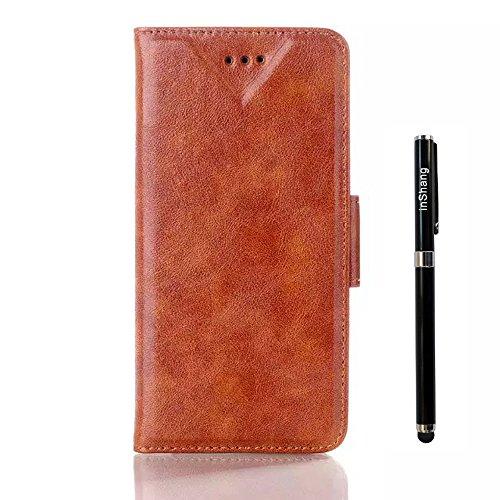 Custodia inShang cover per iphone 6 plus 5.5 iPhone 6+, Supporto rigido per iphone6 Case in pelle PU - Custodia a portafoglio con taschini per carte di credito, + inShang Logo pennino di alta classe Oil-pull brown