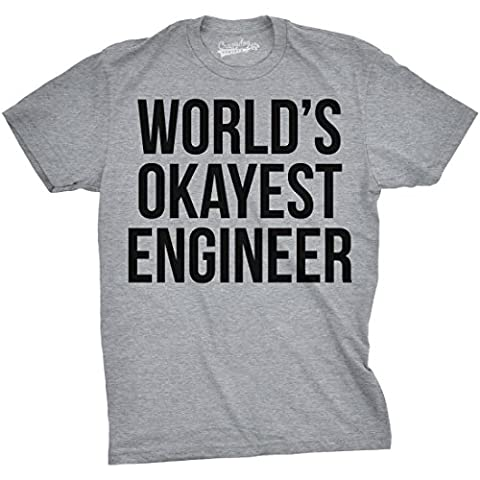Crazy Dog TShirts - World's Okayest Engineer T Shirt Funny Sarcastic Shop Tech Career Tee (Grey) S - Homme