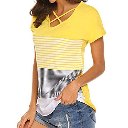 MRULIC Frauen Damen Streifen Splice T-Shirt Kurzarm Casual Tops Bluse Sommer Trikot(Gelb,EU-38/CN-M) (Kurzarm-bluse Rüschen Vorne)