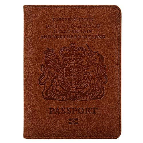 Travel Reisepass Schutzhülle Halter Brieftasche mit RFID Schutz Blockier, hält den Pass, Visitenkarten, Kreditkarten, Bordkarten Sicherer, Kunstleder Passhülle,braun