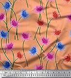 Soimoi Orange Viskose Chiffon Stoff Kaktus Dahlie Blume