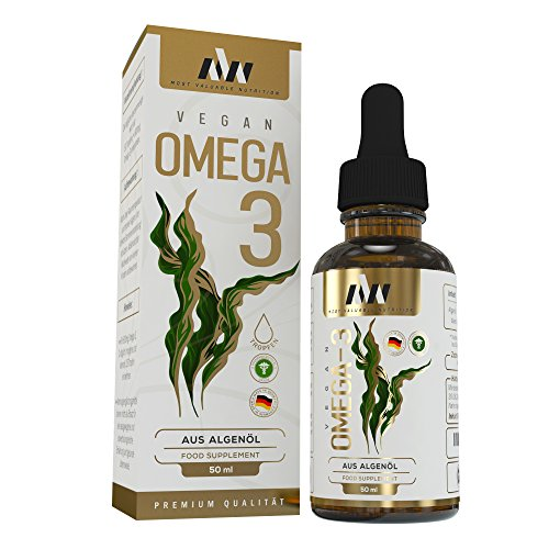 MVN Omega 3 Tropfen aus Algenöl 50% DHA   Vegan   Hochdosiert   800 mg pro Tagesdosis   Premium Qualität   Made in Germany