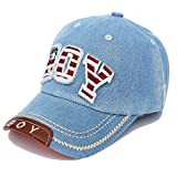 Baseballkappe Alphabet Stickerei Denim Hut Kappen für Jungen Mädchen, Hellblau