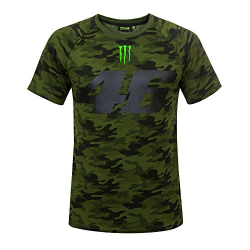 218 VR46 Valentino Rossi # 46 MotoGP Herren T-Shirt Camo Monster Energy Design, Camouflage, Mens (L) 112cm/44 Inch Chest (Monster Energy T-shirts)