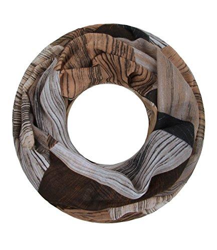 Majea Majea Damen Loop Schal viele Farben tolle Muster Schlauchschal Halstücher, Beige 15, 180 x 90