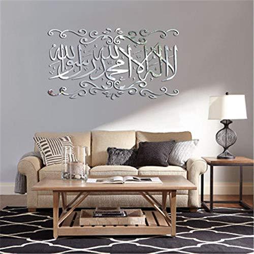 OTXA Muslim 3D Zitate Acryl Spiegel Wandaufkleber Wohnkultur Wohnzimmer Acryl Wandbild Islamischen Wandtattoo Gespiegelt Dekorative Aufkleber Schwarz Kleine