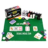Nexos Pokerset 200 Pokerchips Spielmatte Pokerkarten Geschenkbox aus Metall 2 Decks, Dealer Button, Small Blind, Big Blind, Pokerkarten in Geschenk-Box aus Metall
