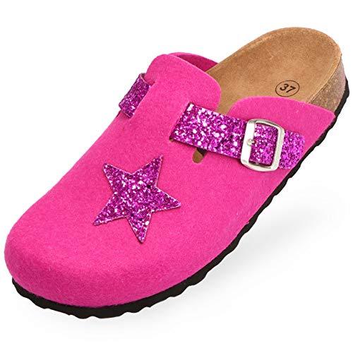 BOnova Hausschuhe Damen Plüsch 38 Malmö pink Glitter-pink 38 - Slipper Damen 38 Clogs Damen 38 Pantoffeln Damen 38 Schlappen Damen 38-35 36 37 38 38 39 40 41 42 43
