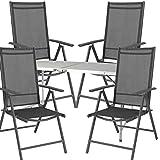 Mojawo® Campinggarnitur Campingmöbel 5-teilig Camping Klapptisch L120xB60xH58/70cm Höhenverstellbarer Tisch + 4 Hochlehner
