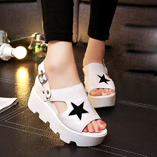 Bescita Frauen Fisch Mund Casual Schuhe Plattform Wedges Sommer Fünf-Sterne Sandalen Schuhe Weiß