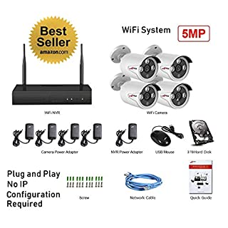 CCTV 4x WiFi 5MP Cameras Plug and Play 4CH WiFi Built-in 5MP NVR with 3TB Kit Super HD H.265+ P2P Wireless Data Security System Indoor Outdoor Weatherproof IR Night CCTV System HDD Mobile APP