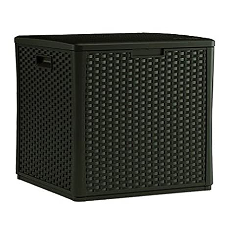 Suncast BMDB60 ® Outdoor Large Garden Resin Wicker Storage Cube