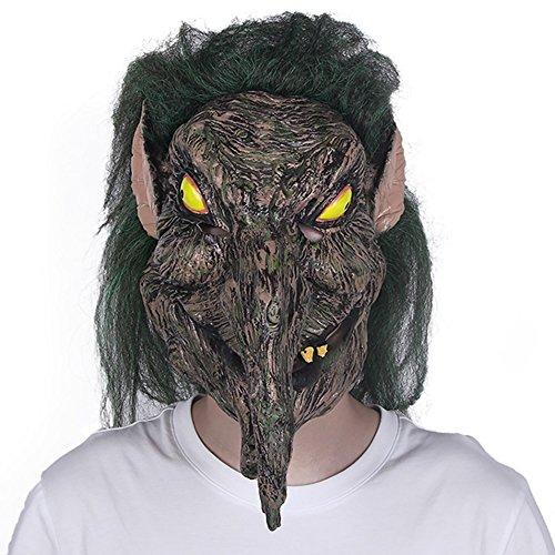 Yxsd Halloween Horror Maske Grimasse Erwachsene dekorative Latex Kopfbedeckung männliche grüne Haare Hexe Scary Party Maske