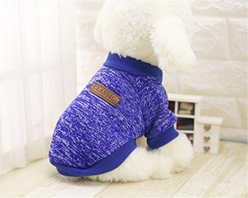 EULSV Hundebekleidung für Kleine Hunde Weichen Haustier Hund Pullover Kleidung für Hund Chihuahua Kleidung Haustier Outfit Ropa Perro Deep Blue L -