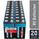 ANSMANN 9V Block Batterien 20 Stück - Alkaline 9 Volt Blockbatterie ideal für Bewegungsmelder, Messgerät, Spielzeug, Fernbedienung, Fernsteuerung, Detektoren - umweltschonende Verpackung