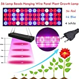 happy event 56 Lampe Perlen Hängenden Draht Panel Pflanzenlampe Pflanzenlicht Led Grow Light Birne Hydroponische Veg Blume volles Spektrum | Greenhouse Seedling Plant Lamp Beads EU