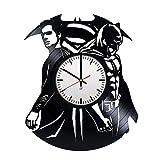Life is life Horloge Murale Moderne en Vinyle avec Motif Superman Batman - Décoration Murale Unique - Idée Cadeau Originale pour Les Enfants et Les Amis - Exclusivité de Comics