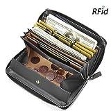 Damen Leder Geldbörse, Brenice RFID Rindleder Reißverschluss Lange Brieftaschen Große Kapazität 11 Kartenhalter Geldbörse für Frauen Schwarz