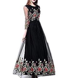 Vaankosh Fashion Women's Net Dress Material (vaank1.31_black)
