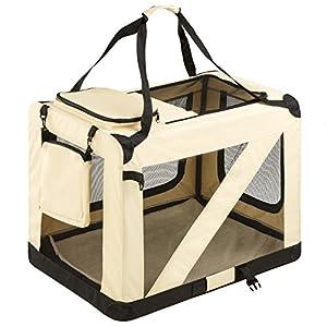 TecTake Cage sac box caisse de transport pour chien chat mobile XL pliable beige 80x55x58cm