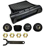 Festnight Tire Pressure Monitoring System Solar Power Universal Wireless with 4 External Sensors Real-time Display 4 Tires' Pressure Auto TPMS with LCD Color Car Accessory
