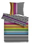 Carpe Sonno kuschelige Biber Bettwäsche 135 x 200 cm bunt Mehrfarbig - Winterbettwäsche mit Reißverschluss aus 100% Baumwolle Flanell - 2-TLG Bettwäsche Set mit Kopfkissen-Bezug