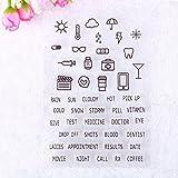 Calistouk Englische Tagebuch-Stempel, transparent, Gummistempel, DIY, Album, Basteln, Skizzenbuch, Dekoration English Dairy & RAIN
