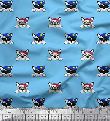 Soimoi Blau Baumwoll-Voile Stoff Mütze, Brille und Französisch Bulldog Gesicht Hund Stoff Drucke Meter 42 Zoll breit